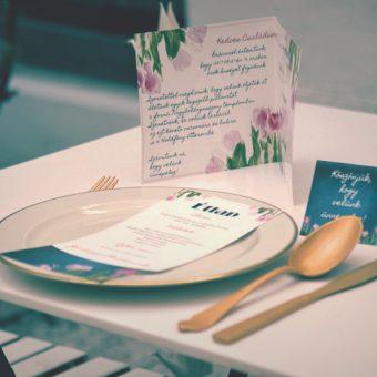 Meghívó, ültetőkártya, ülésrend, étlap